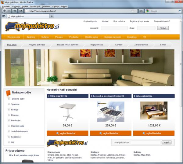 Spletna trgovina Moje pohištvo